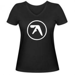 Женская футболка с V-образным вырезом selected ambient works - FatLine