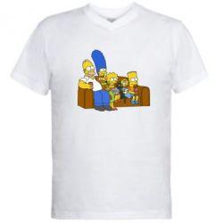 Мужская футболка  с V-образным вырезом Семейство Симпсонов - FatLine