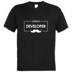 Мужская футболка  с V-образным вырезом Senor Developer