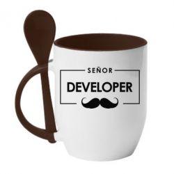 Кружка с керамической ложкой Senor Developer