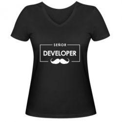 Женская футболка с V-образным вырезом Senor Developer
