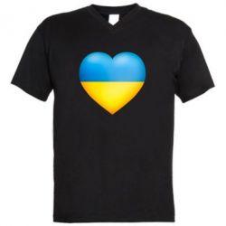 Мужская футболка  с V-образным вырезом Серце патріота - FatLine
