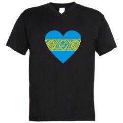 Мужская футболка  с V-образным вырезом Серце України - FatLine