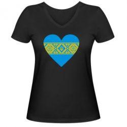 Женская футболка с V-образным вырезом Серце України - FatLine
