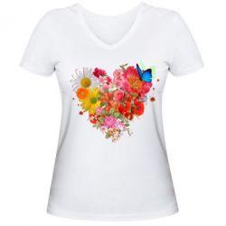 Мужская футболка  с V-образным вырезом Сердце из цветов
