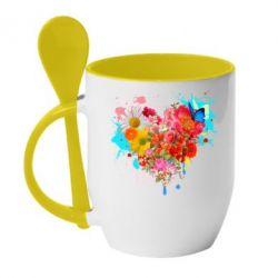 Кружка 420ml Сердце из цветов