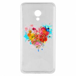 Кружка с керамической ложкой Сердце из цветов