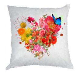 Подушка Сердце из цветов