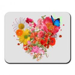 Коврик для мыши Сердце из цветов