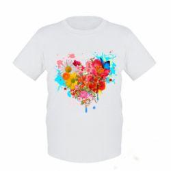 Женская футболка поло Сердце из цветов