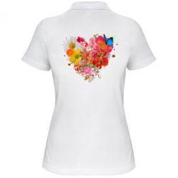 Футболка Поло Сердце из цветов