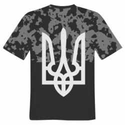 Чоловіча 3D футболка Сірий камуфляж з гербом України f16d534d1b33b