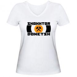 Женская футболка с V-образным вырезом Shakhtar Donetsk - FatLine