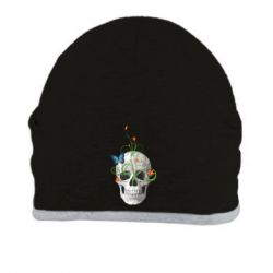 Шапка Skull and green flower