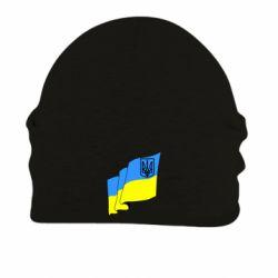 Шапка на флисе Флаг Украины с Гербом
