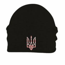 Шапка на флисе Герб України з національніми візерунками