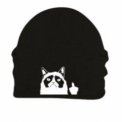 Шапка на флісі Grumpy cat F**k Off