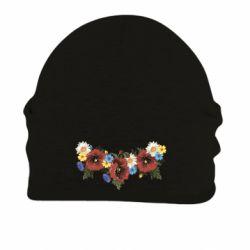 Шапка на флисе Украинские цветы - FatLine