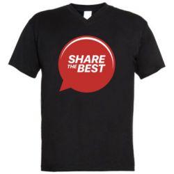 Мужская футболка  с V-образным вырезом Share the best