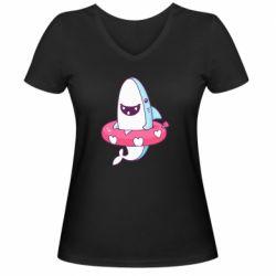Женская футболка с V-образным вырезом Shark and Lifebuoy