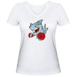 Женская футболка с V-образным вырезом Shark MMA - FatLine