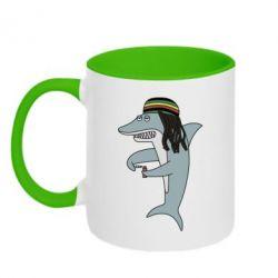 Кружка двоколірна 320ml Shark Rastaman