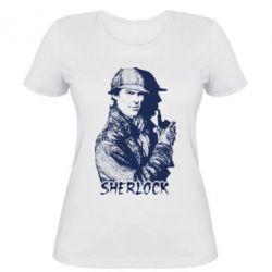Женская футболка Шерлок рисунок