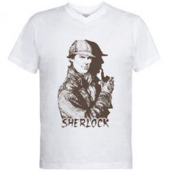 Мужская футболка  с V-образным вырезом Шерлок рисунок