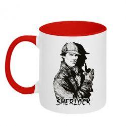 Кружка двухцветная Шерлок рисунок