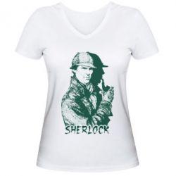 Женская футболка с V-образным вырезом Шерлок рисунок