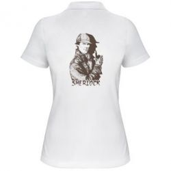 Женская футболка поло Шерлок рисунок