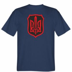 Мужская футболка Shield with the emblem of Ukraine and the sword