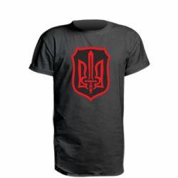 Удлиненная футболка Shield with the emblem of Ukraine and the sword