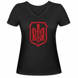Женская футболка с V-образным вырезом Shield with the emblem of Ukraine and the sword