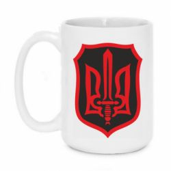 Кружка 420ml Shield with the emblem of Ukraine and the sword