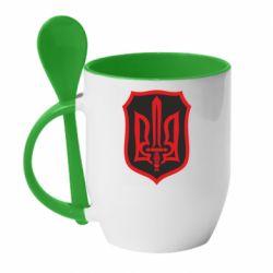 Кружка с керамической ложкой Shield with the emblem of Ukraine and the sword