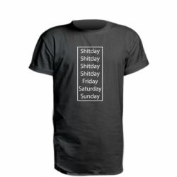 Удлиненная футболка Shitday friday saturday sunday