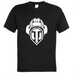 Мужская футболка  с V-образным вырезом Шлем WOT - FatLine