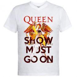 Чоловіча футболка з V-подібним вирізом Show must go on