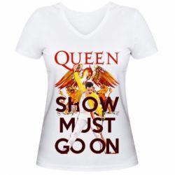 Жіноча футболка з V-подібним вирізом Show must go on