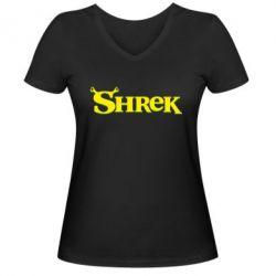 Женская футболка с V-образным вырезом Shrek - FatLine