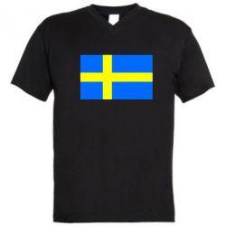 Мужская футболка  с V-образным вырезом Швеция - FatLine