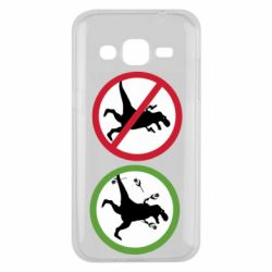 Чохол для Samsung J2 2015 Sign with a dinosaur with a gun and flowers