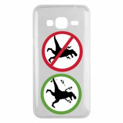 Чохол для Samsung J3 2016 Sign with a dinosaur with a gun and flowers