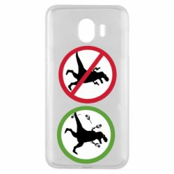 Чохол для Samsung J4 Sign with a dinosaur with a gun and flowers