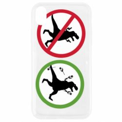 Чохол для iPhone XR Sign with a dinosaur with a gun and flowers