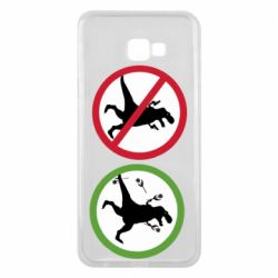 Чохол для Samsung J4 Plus 2018 Sign with a dinosaur with a gun and flowers