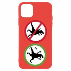 Чохол для iPhone 11 Sign with a dinosaur with a gun and flowers