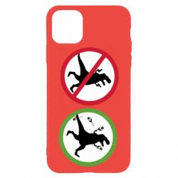 Чохол для iPhone 11 Pro Max Sign with a dinosaur with a gun and flowers