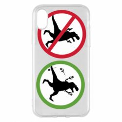Чохол для iPhone X/Xs Sign with a dinosaur with a gun and flowers